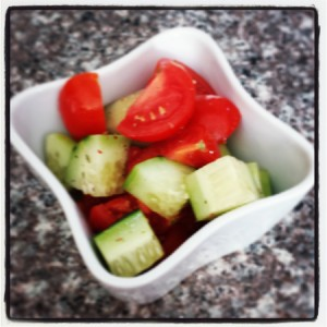 Raw veggies with apple cider vinegar and some seasonings. You don't need a kit to nourish your body!